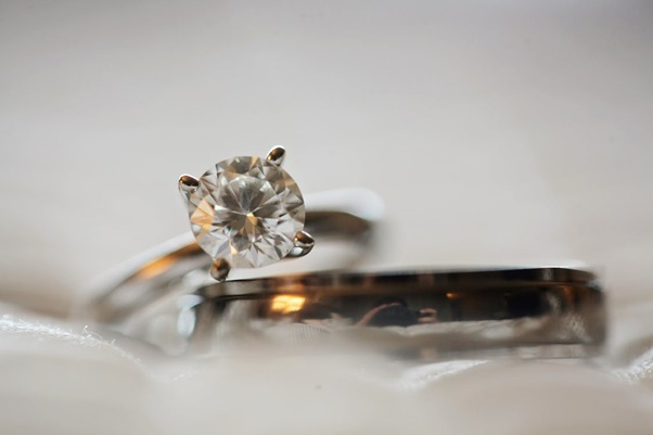 An engagement ring made of diamond.